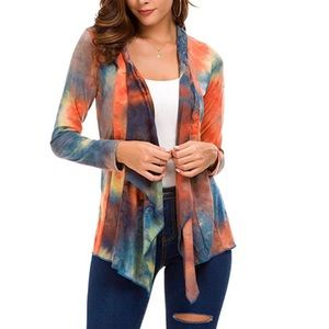 Sweaters - Open Drape Front Colorful Cardigan